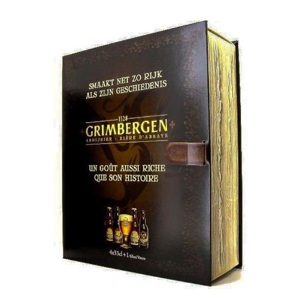 Box Grimbergen Book 4 Bottles + Glass