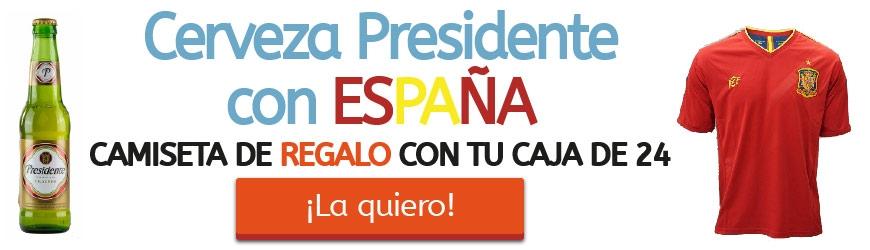 Cerveza Presidente con ESPAÑA. Camiseta de REGALO con tu caja de 24 cervezas
